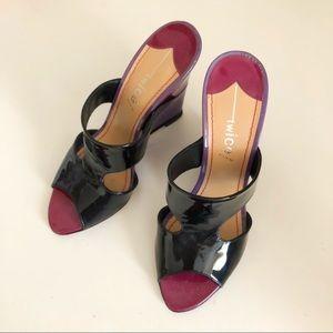 Shoes - Purple, Fuchsia and Black Wedge Leather Heel